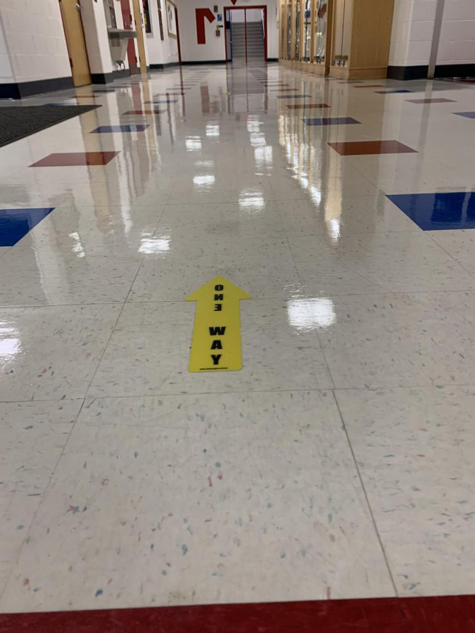 Foran High Schools one way arrow stickers in the hallway.  Photo Courtesy:  Morgan Viesselman September 22, 2020